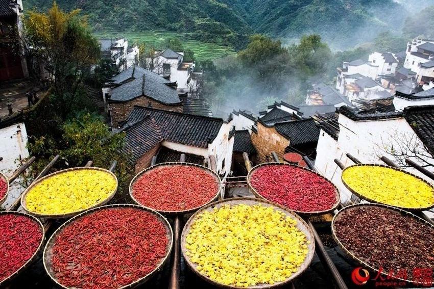 우위안 황링의 '가을 곡식 말리기', 오색 빛깔로 물든 옥상