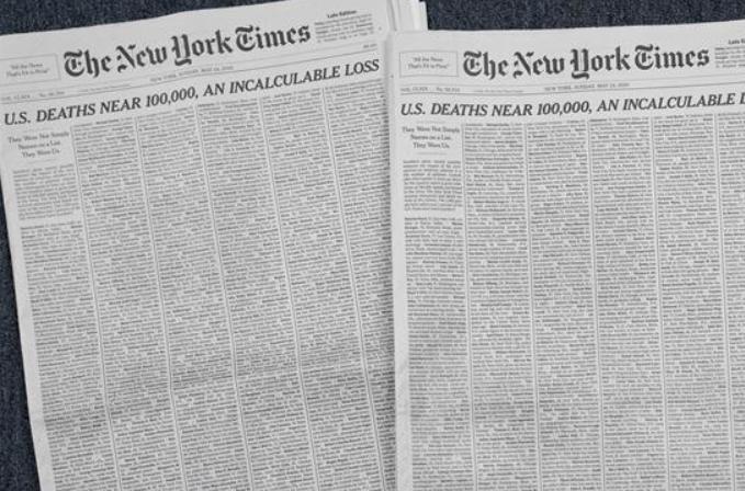 美 코로나19 사망 환자 근 10만명…일부 사망자 명단 '뉴욕타임스' 제1면에 실려