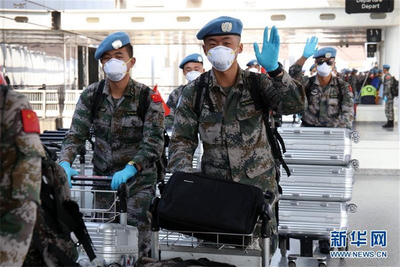 중국 제18차 레바논 파견 평화유지군 1진 귀국길 올라